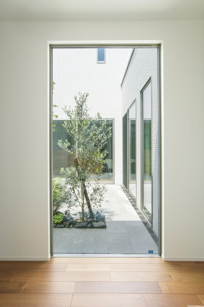 玄関正面から見える景色。日々季節の移ろいを感じることができる。